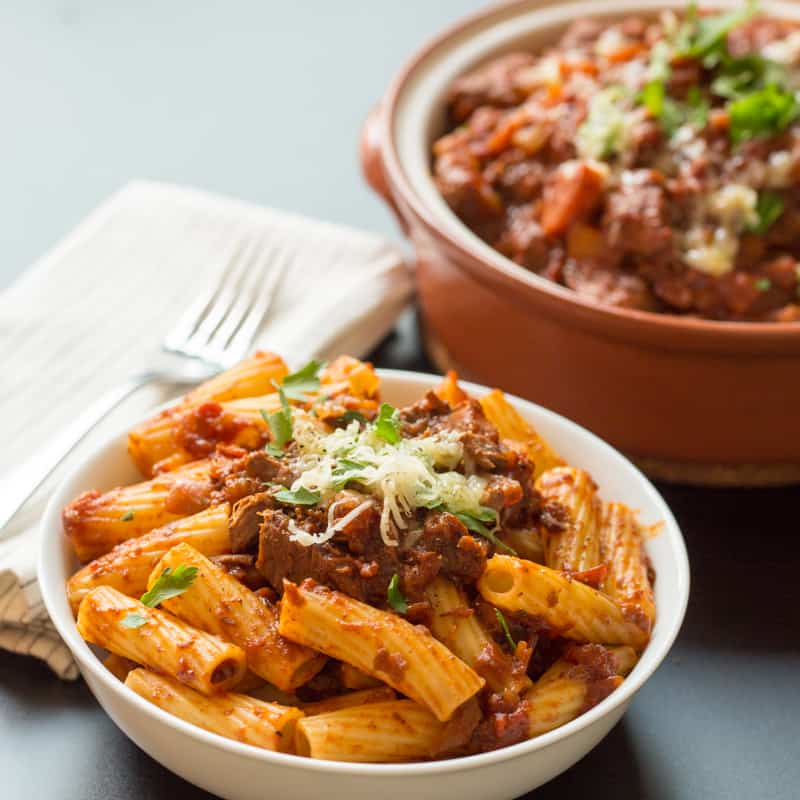 Slow Cooked Beef Ragu with Rigatoni - Nicky's Kitchen ...