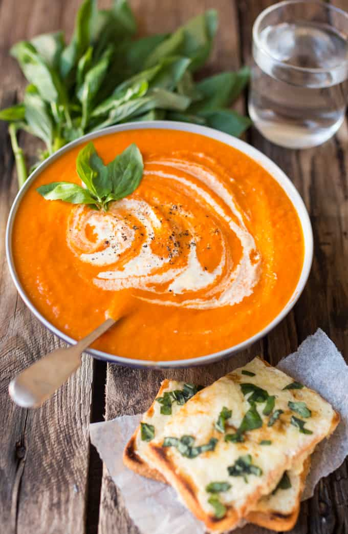 Creamy Tomato Soup with Basil Cheese on Toast - Nicky's Kitchen ...