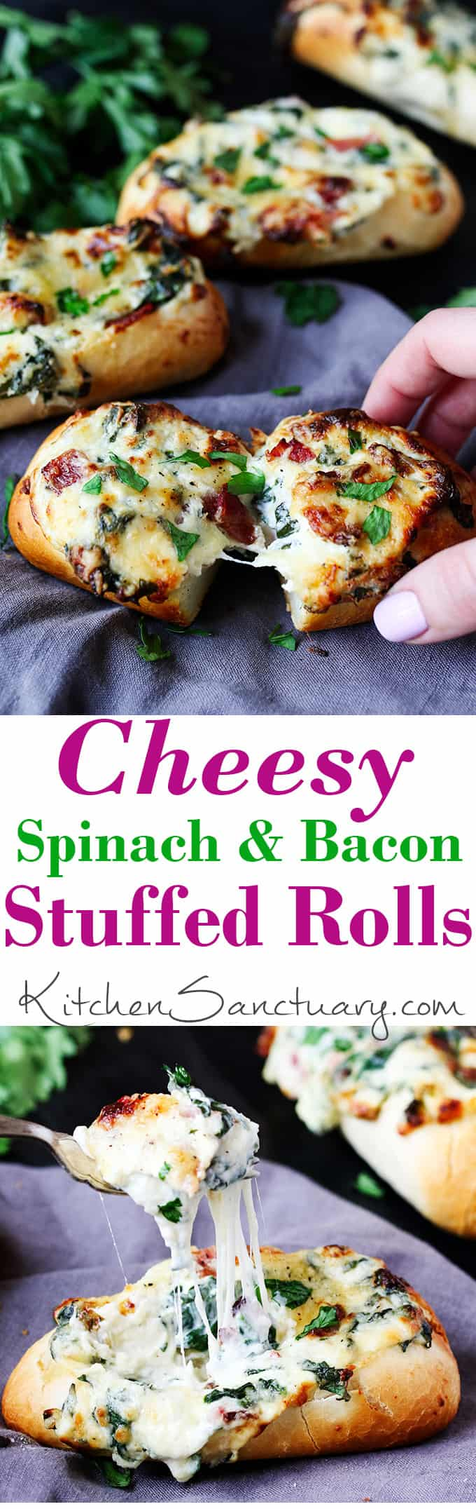 These stuffed cheesy breads with spinach and bacon use part-baked petit pans that cook at the same time as the gooey filling. Perfect for game day!!