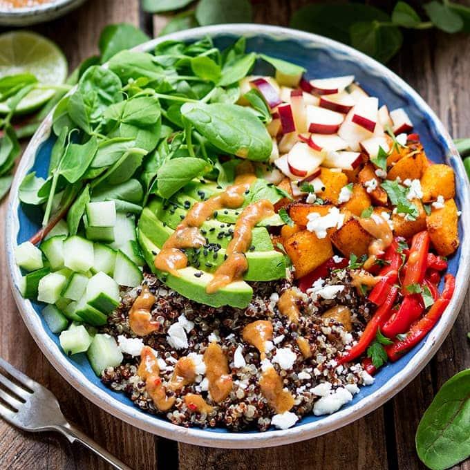 Vegetarian Buddha Bowls with Spicy Peanut Sauce