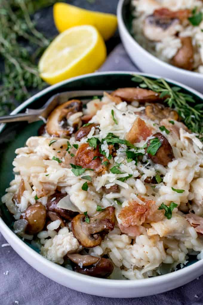 Rich and creamy turkey, mushroom and Pancetta Risotto - A great way to ...