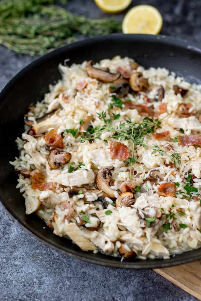 Rich and creamy turkey mushroom and Pancetta Risotto - A great way to ...