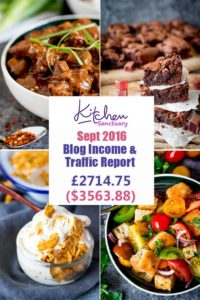 September 2016 Income and Traffic report for Kitchen Sanctuary Blog